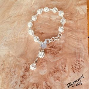 "NWT STERLING SILVER BRACELET LADIES 9"" LARGE BALLS"
